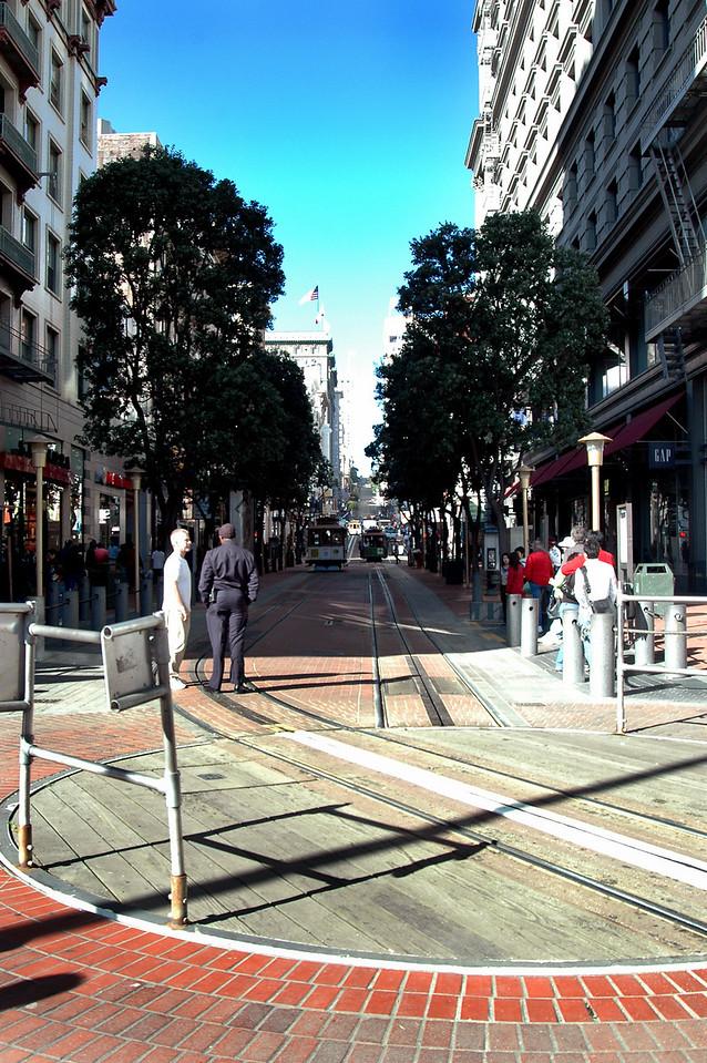 Powell St trolley turntable - San Francisco, CA 2-14-06