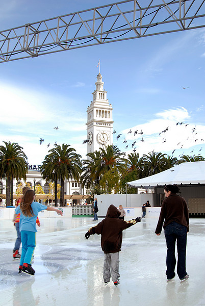 ice rink & Ferry Bldg clock tower & pigeons-San Francisco, CA 11-12-2007