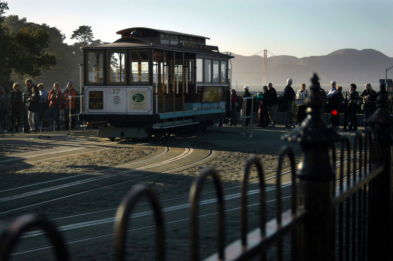Hyde Street cable car turnaround & Golden Gate Bridge-San Francisco, CA 2-14-06