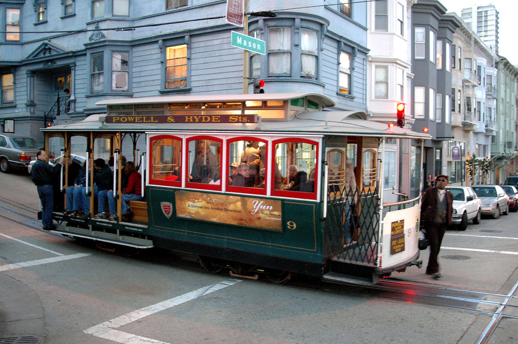 cable car cruising past-dusk-San Francisco 2-14-06