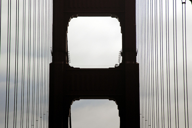 Golden Gate Bridge-tower close-up-San Francisco Bay, CA 10-14-2006
