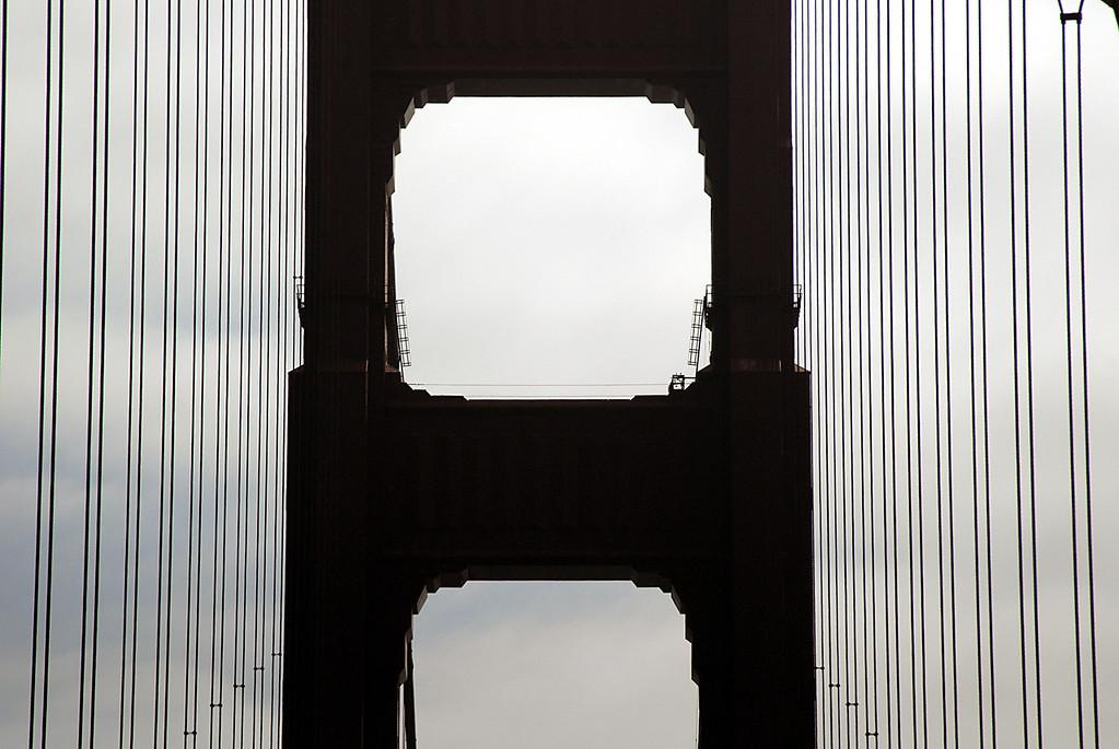 Golden Gate Bridge-tower close-up-San Francisco Bay, CA 10-14-2006