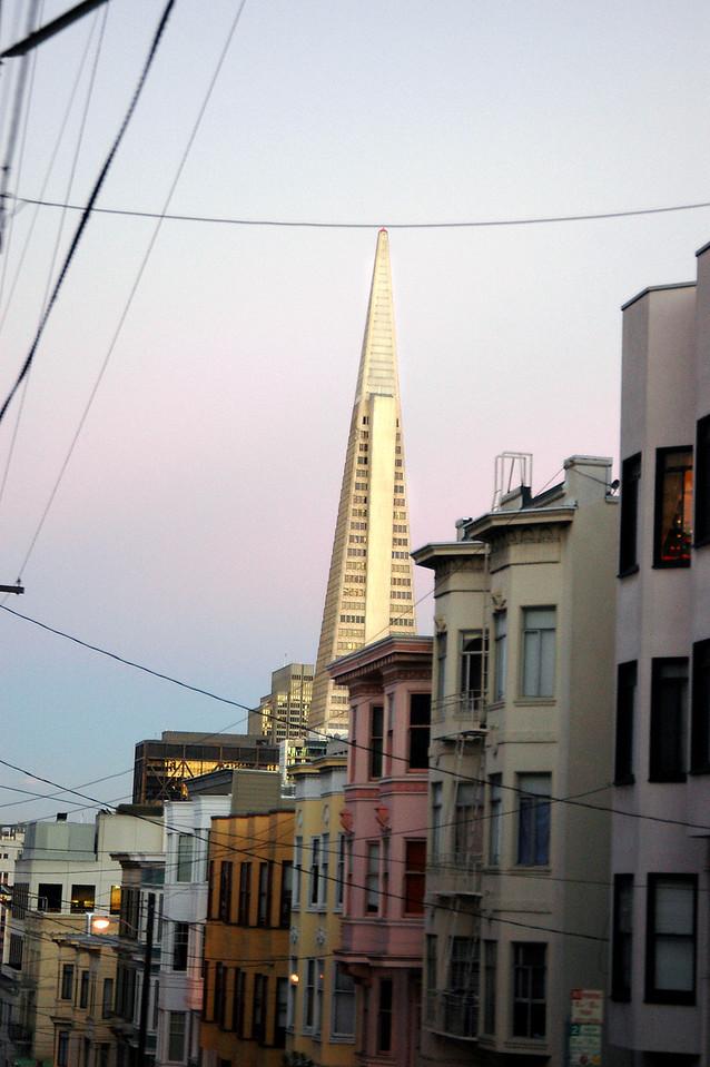 Transamerica Pyramid view from cable car-San Francisco, CA 2-14-06