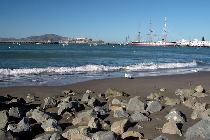rocky beach near Fisherman's Wharf-view of Alcatraz-San Francisco, CA 2-14-06