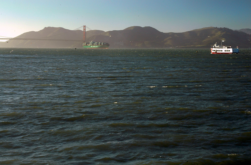 Golden Gate Bridge, Marin Headlands, Chinese Freighter-San Francisco Bay, CA 2-14-06