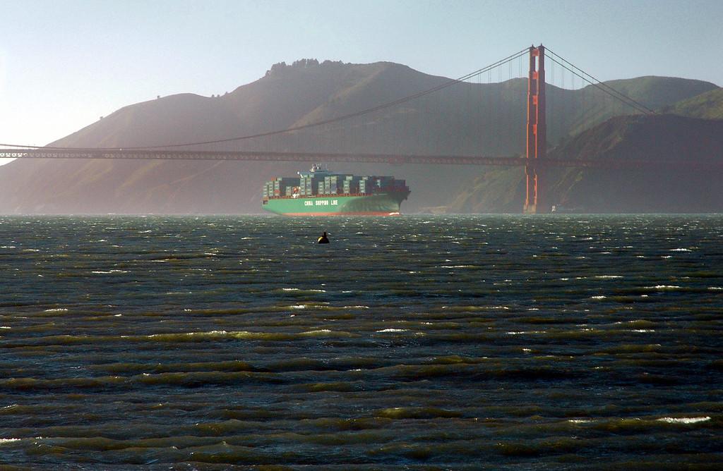 Golden Gate Bridge & freighter-San Francisco Bay, CA 2-14-06