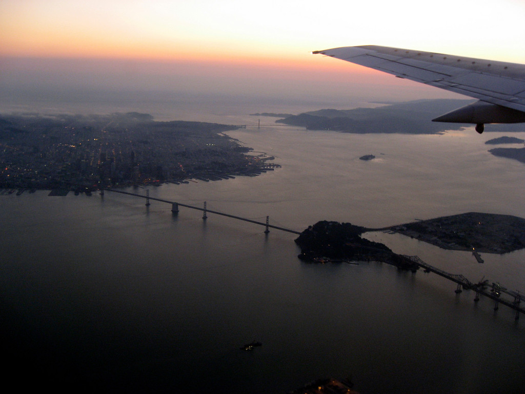 sunset over San Francisco Bay, from airplane-8-2006