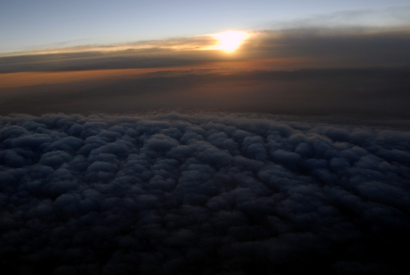 sunset cloudscape from plane - CA to WA 10-14-2006