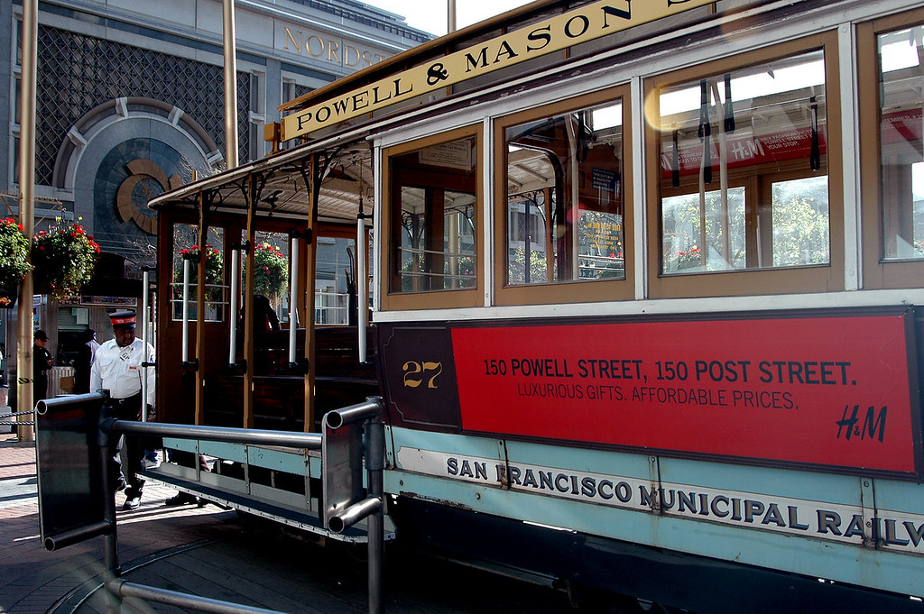 Powell & Mason cable car, close-up-San Francisco, CA 2-14-06