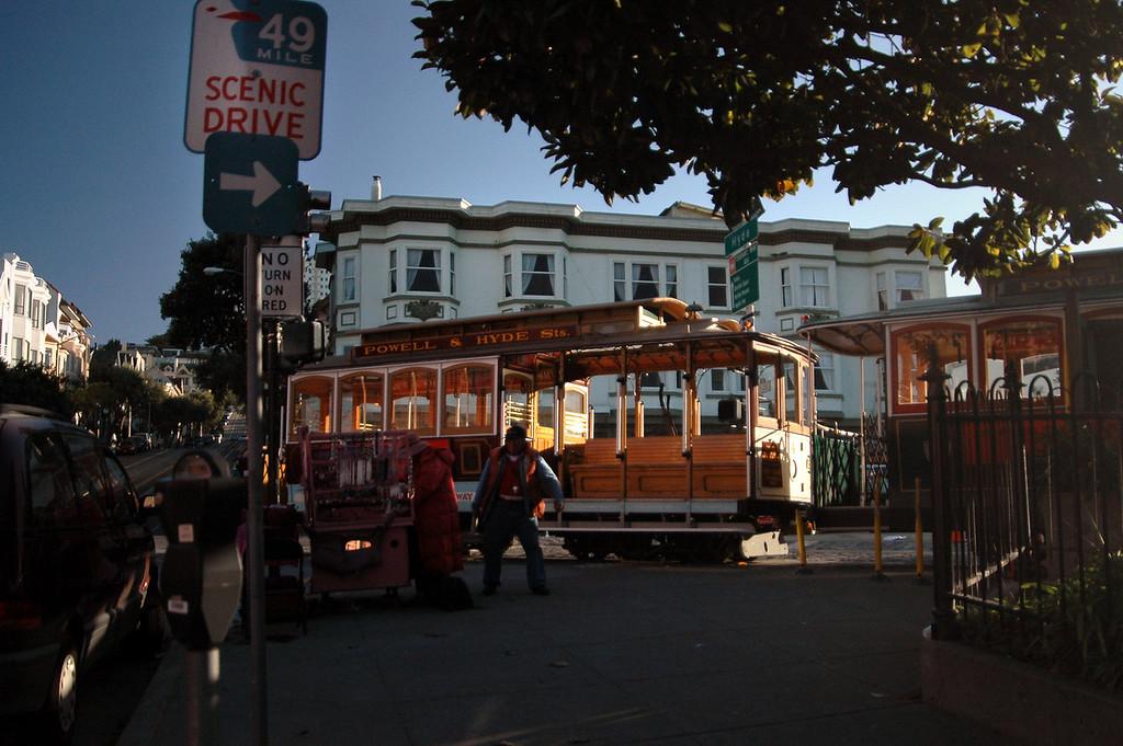 cable cars @ Hyde Street turnaround-Fisherman's Wharf, San Francisco 2-14-06