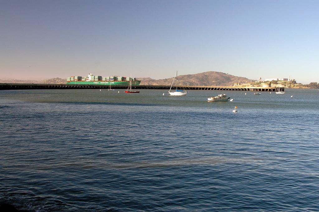 marina, Alcatraz, Chinese freighter-San Francisco Bay, CA 2-14-06