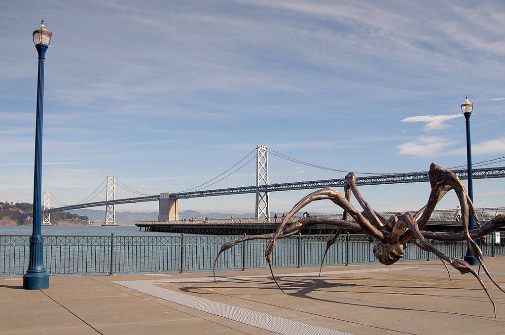 crouching spider sculpture & Bay Bridge-Embarcadero, San Francisco 11-12-2007