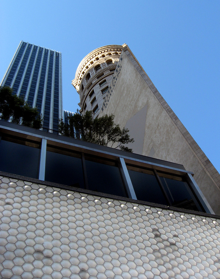 Hobart building from BART escalator-San Francisco 8-2006