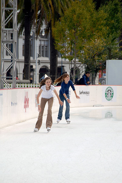girls going around the bend-Embarcadero ice rink-San Francisco, CA 11-12-2007