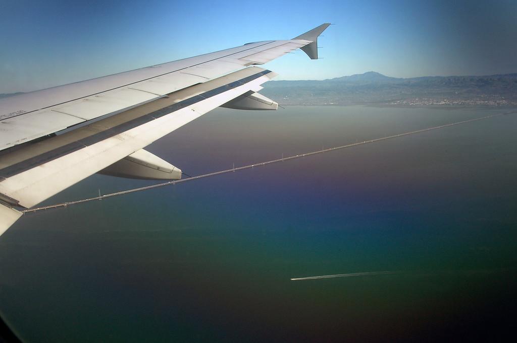 aerial view of San Francisco-Oakland Bay Bridge-California 2-14-06