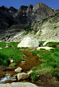 Chasm Lake hike - after the snowfield - Rocky Mtns 1997 July