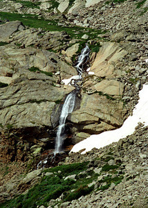Chasm Lake hike - waterfall & snowfield - CO 1997 July