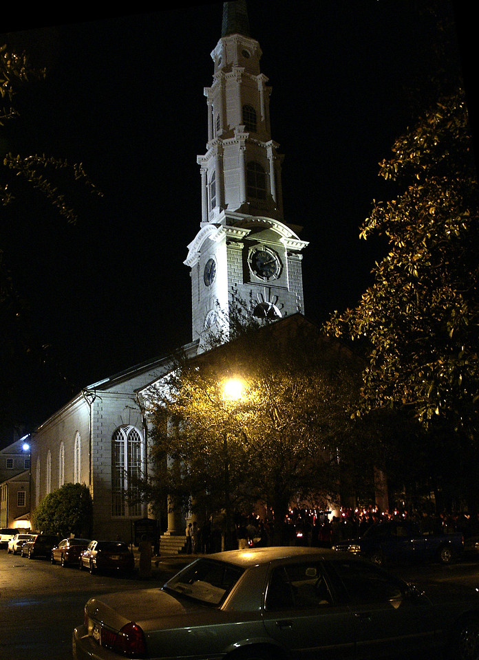 Christmas Eve candlelight vigil @ Presbyterian church in Savannah, GA 2002
