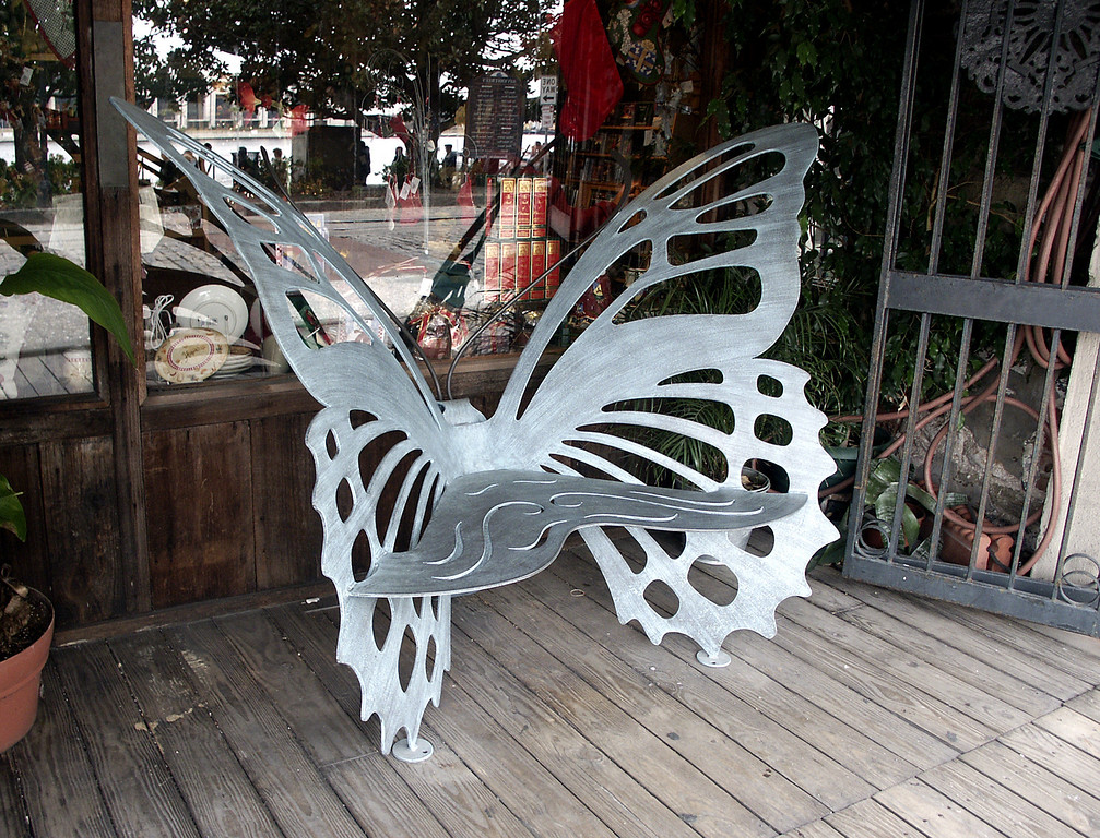 butterfly bench on River Street - Savannah, GA 2002