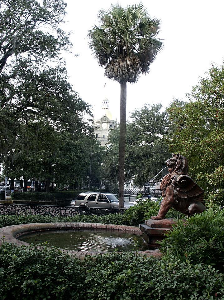 City Hall & lion fountain near Factors Walk - Savannah, GA 2002