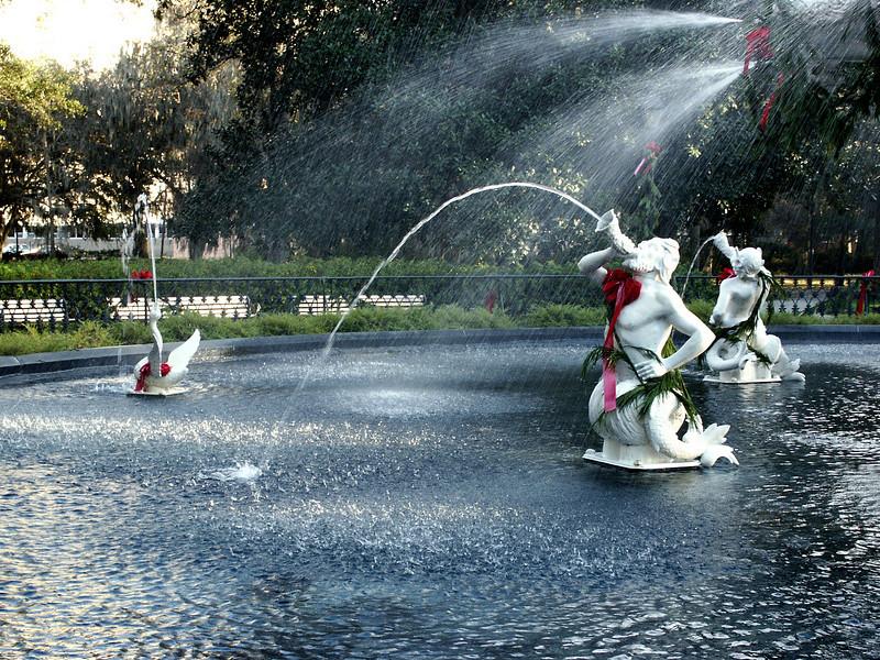 Forsyth Park mermen & swan - Savannah 2002