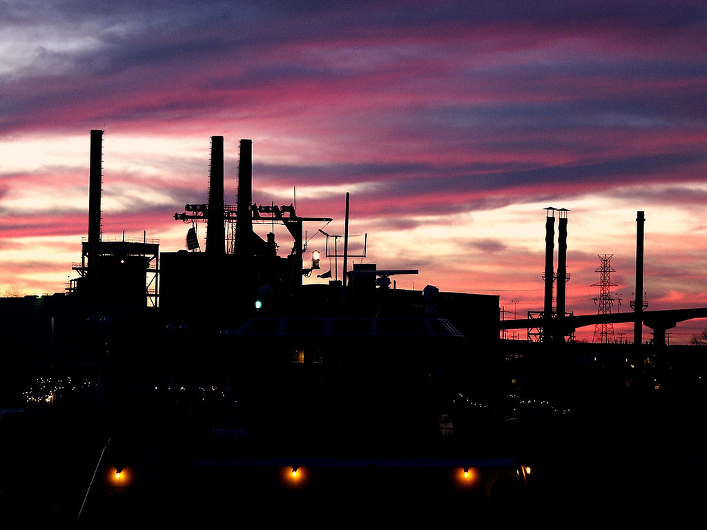 sunset & Savannah smokestacks - Christmas 2002
