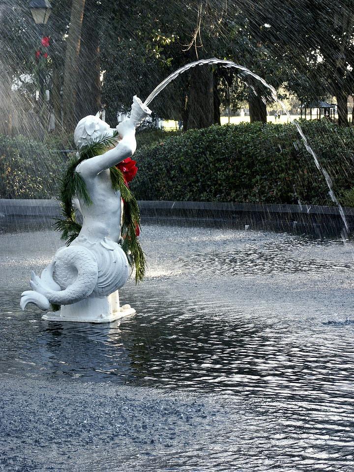 Forsyth fountain merman - Christmas Day - Savannah 2002