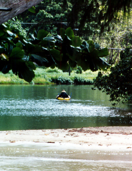 paddler on windward fishpond 1999 Sept