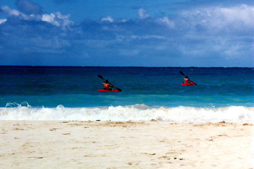 kayakers off Kailua Beach, HI  1998 spring