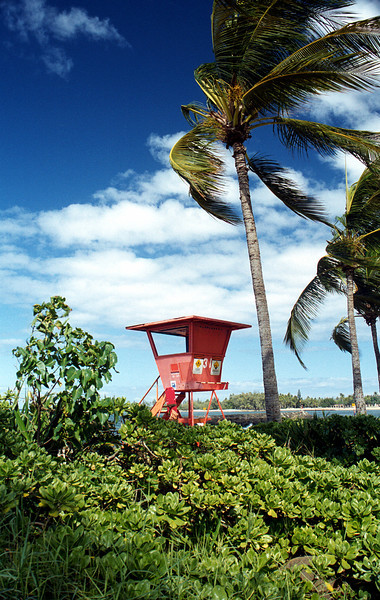 Ali'i Beach Park lifeguard chair 2000 Jan