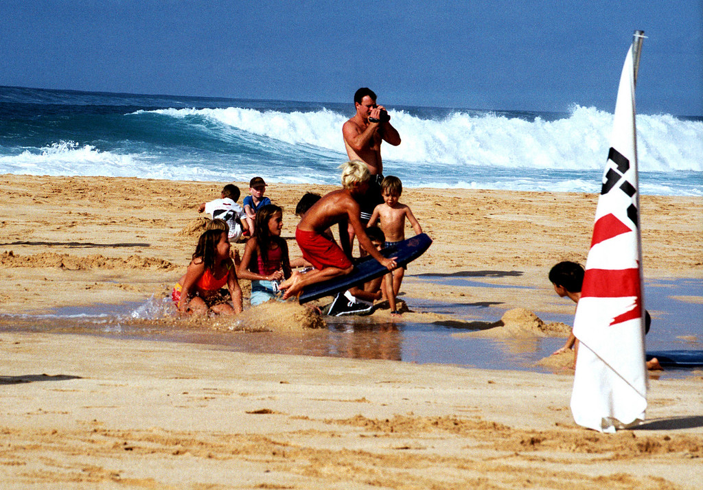 Ehukai Beach - airborne boogie boarder 1999 Dec