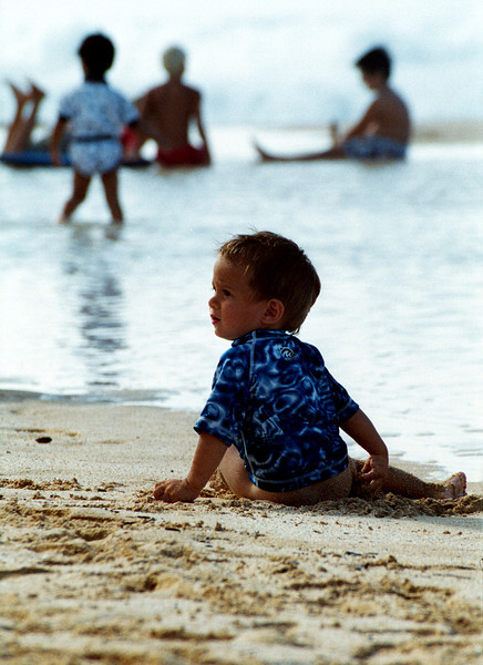 baby beach bum on Ehukai Beach - North Shore of O'ahu 1999