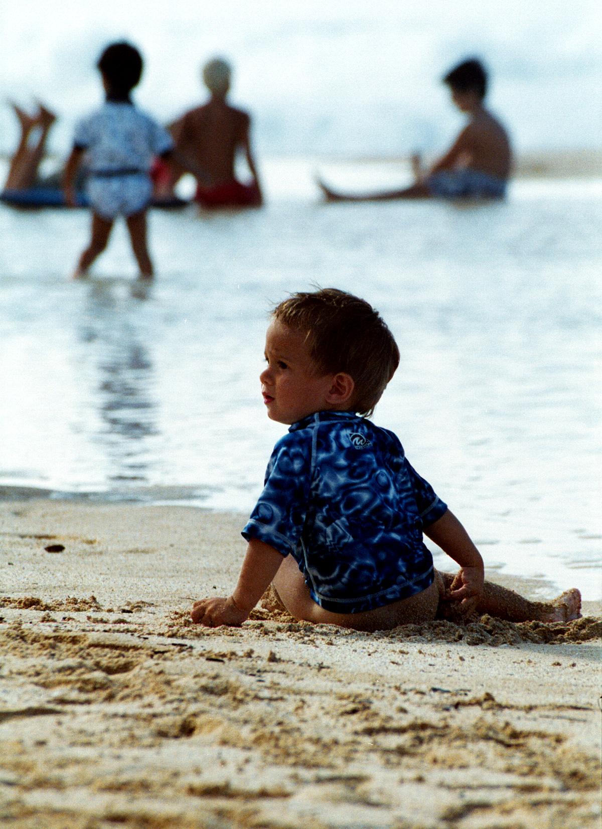 baby beach bum on Ehukai Beach - North Shore of O'ahu 1999