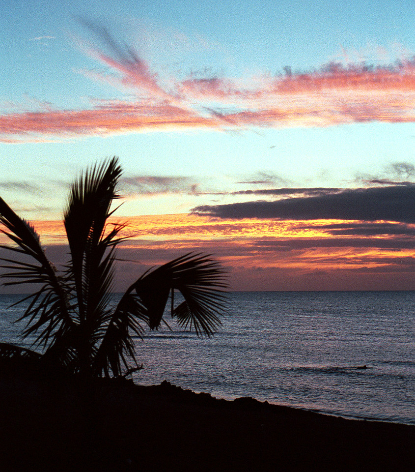 Ali'i Beach Park sunset - North Shore O'ahu 1999 July