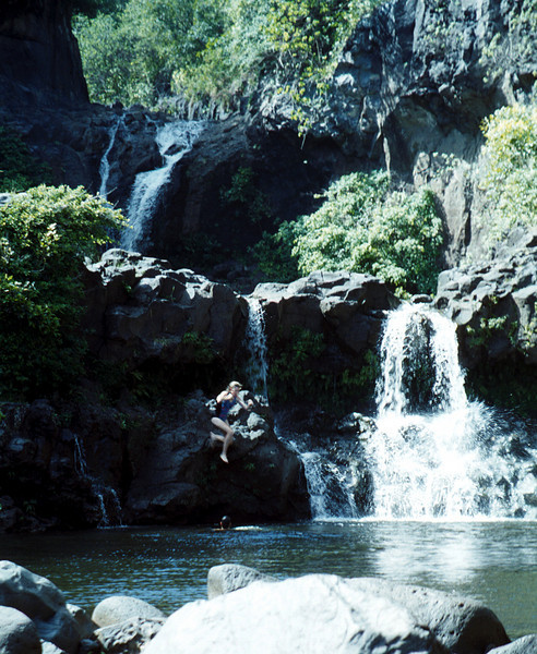 Wendy taking plunge-sacred pools-Ohe'e Gulch,MAUI 1999 Oct