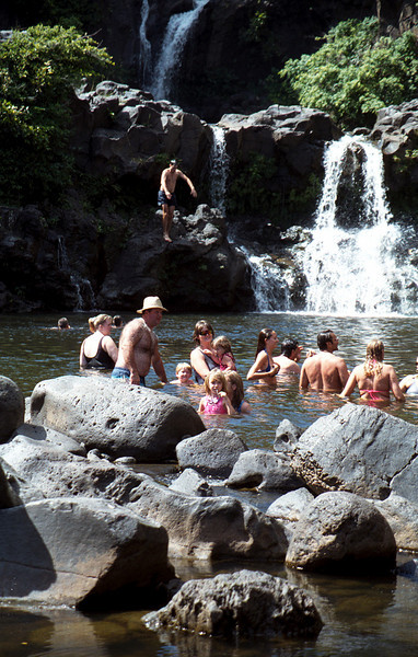 Rob taking the plunge @ the sacred pools - Maui 1999 Oct