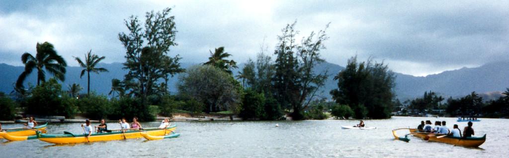 outrigger canoe teams-Kailua canal-Windward O'ahu 1999 April