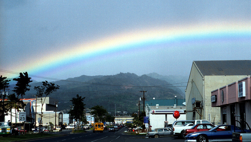 rainbow over Sand Island & the Ko'olaus 2000 Jan