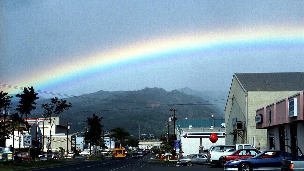 rainbow over Sand Island & the Ko'olaus 2000 Jan