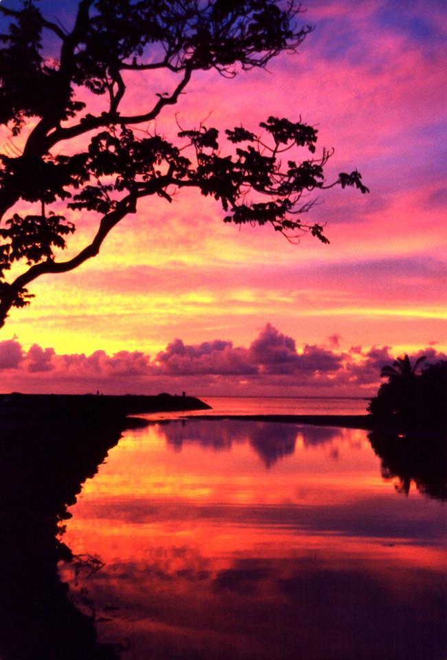 Anahulu Stream sunset- Hale'iwa, HI  1998 May