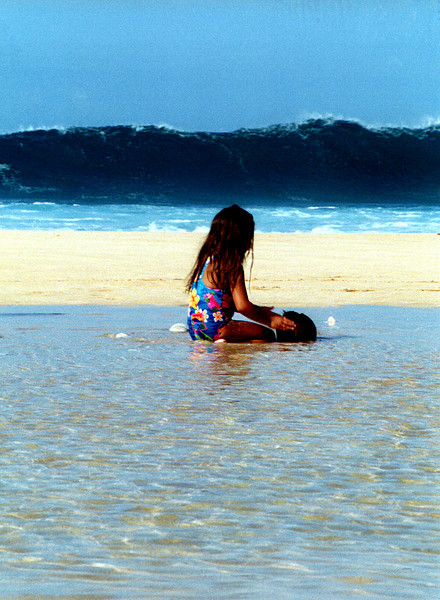 Ehukai Beach - girl & surf 1999 Dec