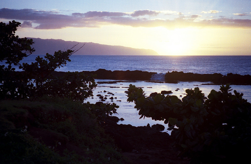 Sharks Cove sunset - Pupukea, O'ahu 2000 Jan