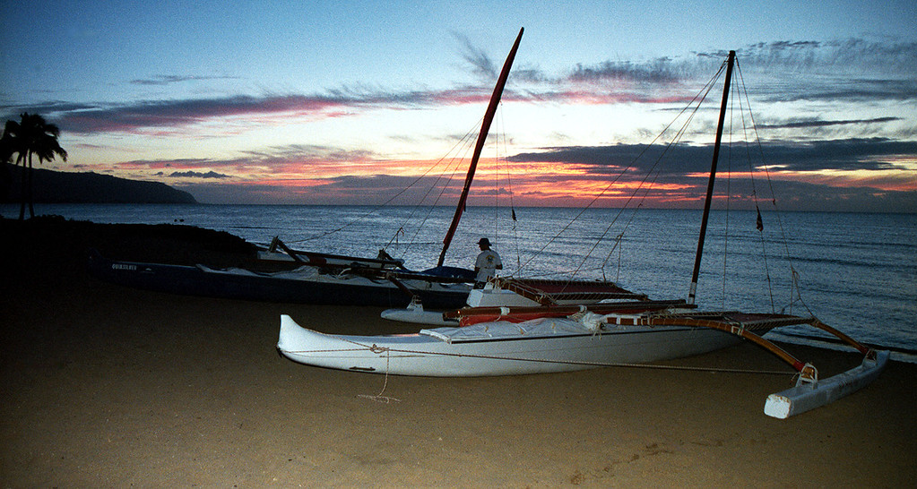 outrigger canoe @ sunset - Hale'iwa 1999 July