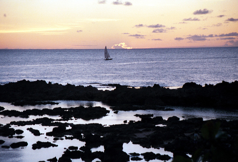 Shark's Cove @ sunset with sailboat - North Shore 1999 Sept