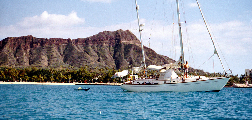 Diamond Head crater & sailboat - Honolulu, HI  2000 Feb