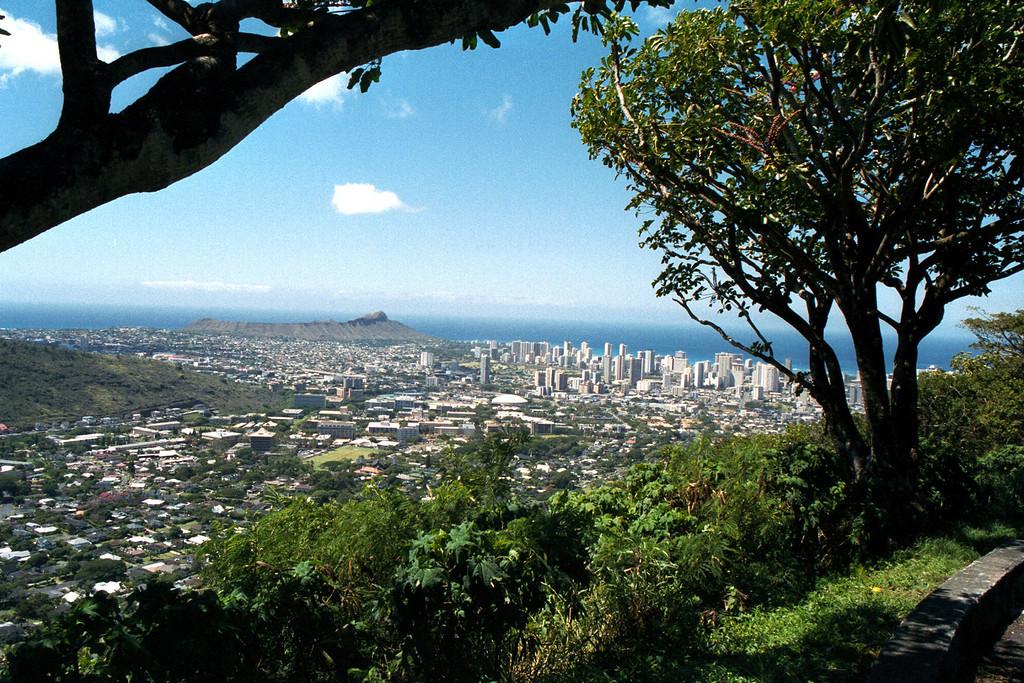 Tantalus view of Diamond Head & Honolulu - O'ahu 1999 July