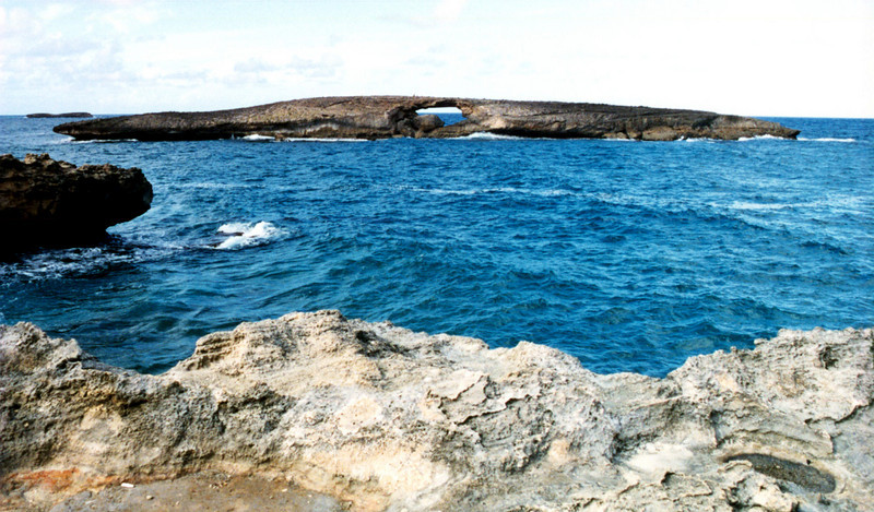 island with arch off coast of Laie, O'ahu 1999 Sept