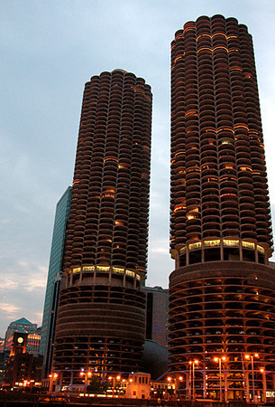 Marina City on the Chicago River, IL 7-3-2006