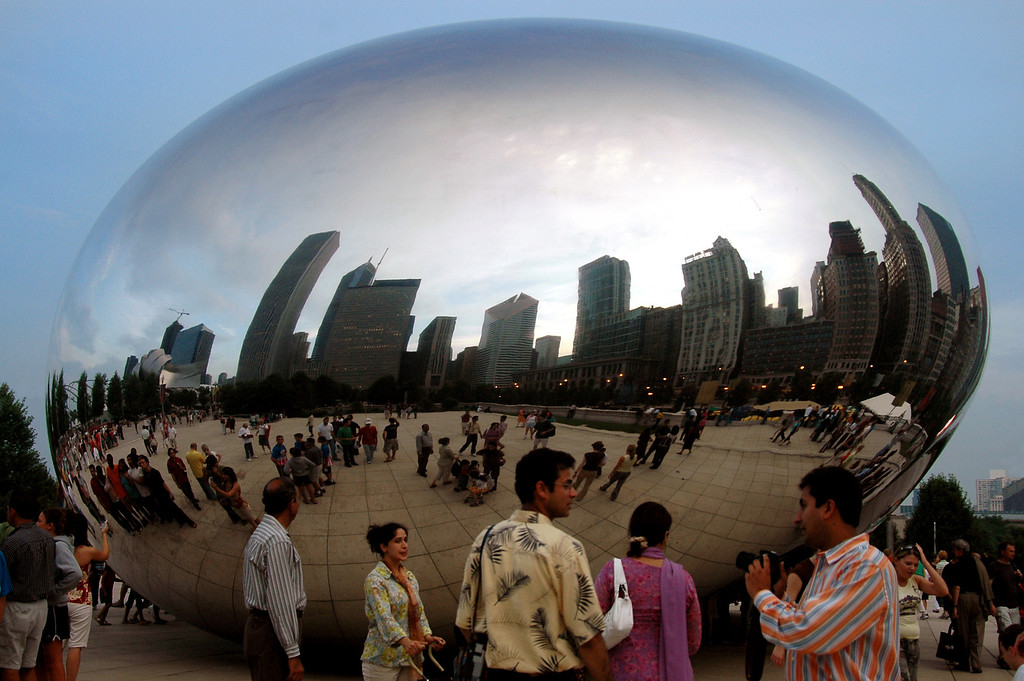 Cloud Gate, aka The Bean, reflecting on downtown Chicago 7-3-2006