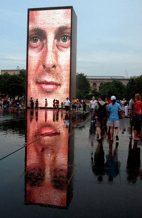 Crown Fountain reflection-Millenium Park-Chicago, IL 7-3-2006